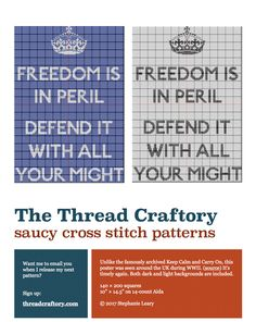 Freedom is in Peril / Defend It with All Your Might cross stitch pattern