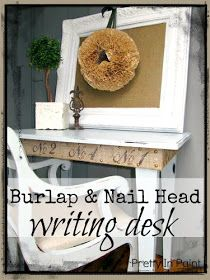 Pretty In Paint: Table Makeover with Burlap and Nail Head Trim