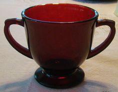 Ruby Red Depression Era Open Sugar Bowl by LyndasLoft on Etsy, $10.50