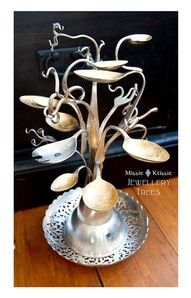 Old silverware made into a jewelry holder