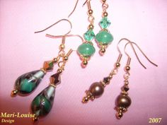 Earrings of different kinds of beads