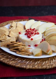 Quick, easy, and pretty baked brie with honey & pomegranate.
