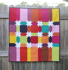 Rainbows and Stars Baby Quilt by CreatedBlissfully on Etsy