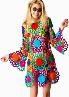 Colorful crochet dress Vestiditos Crochet 1df055ba646e