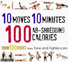 Burn 100 calories in 10 minutes with this killer ab workout from www.Tone-and-Tighten.com