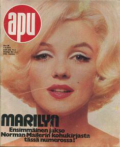 Apu - magazine from Finland. Front cover photo of Marilyn Monroe by Bert Stern, Marilyn Monroe Books, Marilyn Monroe Drawing, Marilyn Monroe Photos, Marilyn Moroe, Celebrity Magazines, Old Commercials, Old Magazines, Album Book, Norma Jeane