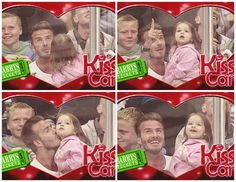 so cute! david beckham and his daughter on the kiss cam