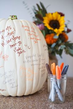 DIY Wedding // faux pumpkin guest book!