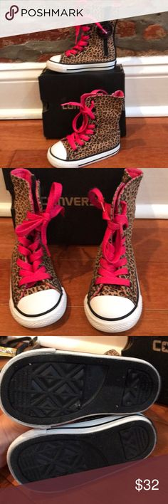 Converse high top leopard sneakers These converse sneakers are in excellent condition and only were worn a few times. They come with the box. converse Shoes Sneakers