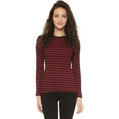 Edith A. Miller Long Sleeve Tee (€74) ❤ liked on Polyvore featuring tops, t-shirts, long sleeve crew neck tee, cotton t shirt, long sleeve graphic tees, striped long sleeve tee and long sleeve t shirts