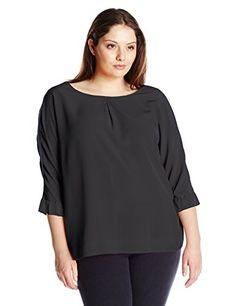 Calvin Klein Women's Plus Size 3/4 Sleeve Crew Neck Blouse, Black, 3X. Solid blouse featuring bateau neckline and three quarter-sleeves with elastic banding at cuffs. Center-back seam.