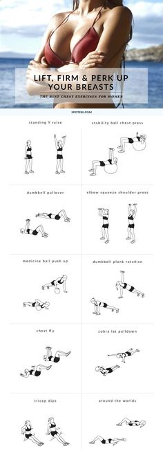 Yoga-Get Your Sexiest Body Ever Without - Try these 10 chest exercises for women to give your bust line a lift and make your breasts appear bigger and perkier, the natural way! www.spotebi.com/... Get your sexiest body ever without,crunches,cardio,or ever setting foot in a gym