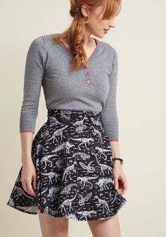 Small - Playful Feeling Glow-in-the-Dark Skirt in Dinos