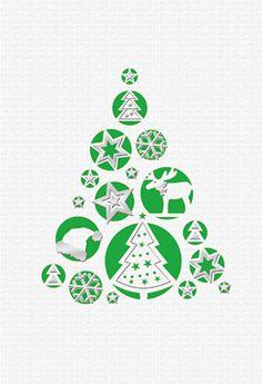 #Weihnachtskarte weiß/grün, Laserstanzung, inkl. Kuvert.