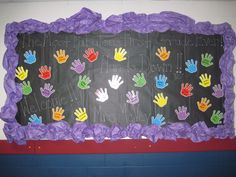 Back to school bulletin board! The Most Fabulous First Grade Class Ever! Hands Down! This is written with chalk on black paper. I used hand print cards and printed my student's names on them! The border is made with scrunched and twisted purple bulletin board paper! This is not one of my best, but I thought it was cute and quick! @StephaniMcVey