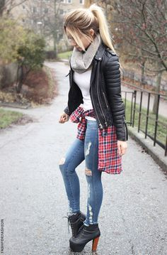 45 Cute Casual Chic Outfits 2016 I wouldn't use those shoes, but I like the rest of the outfit Look Fashion, Winter Fashion, Fashion Outfits, Womens Fashion, Fashion Trends, Latest Fashion, Fashion 2015, Fashion Heels, Fashion Styles
