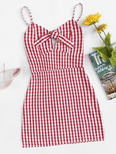 Shop Knot Front Plaid Cami Dress at ROMWE, discover more fashion styles online. Teen Fashion Outfits, Outfits For Teens, Trendy Outfits, Girl Outfits, Womens Fashion, Fashion Trends, Cute Summer Outfits, Spring Outfits, Cute Outfits