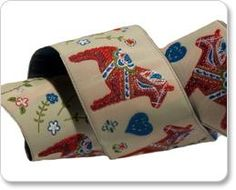 "1 linear yard of ""Dala Horse"" embroidered ribbon $5.95 Design by Cherish Flieder"