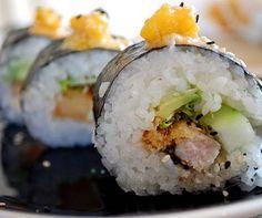 Sesame-Seared Tuna and Tempura Papaya Sushi with Spicy Sesame Sauce and Papaya Chutney