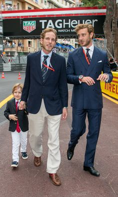 Pierre and Andrea Casiraghi left their respective wives and newborns at home to attend the Monaco Formula One Grand Prix at the Circuit de Monaco. Princess Caroline's grandson Sacha looked like the perfect little gentleman during the outing. Princess Caroline Of Monaco, Princess Alexandra, Princess Stephanie, Grace Kelly, Ernst August, Boys Day, Andrea Casiraghi, Little Gentleman, Prince Rainier
