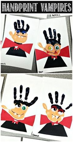 Lavoretti Halloween: da impronte di amni a  vampiri - Handprint Vampire Halloween Craft for Kids #Dracula | http://CraftyMorning.com