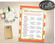 WHAT'S In YOUR PURSE baby shower game with glitter gold and orange strips theme printable, digital Jpg Pdf, instant download - bs003 #babyshowergifts #babyshowerideas