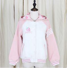 Cute kawaii strawberry pink hooded jacket