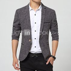 Men's Casual/Work/Formal Plaids & Checks Long Sleeve Regular Blazer (Nylon)British wind tide male suit - USD $ 38.99