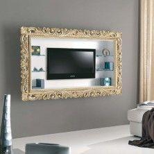Pannello Tiago porta tv con cornice lavorata oro o argento.