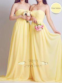 Pale Yellow Strapless Sweetheart Long Chiffon Bridesmaid Dress