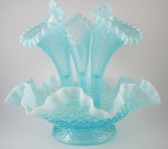 Beautiful Vintage Fenton Hobnail Blue Agua Opalescent 4 PC Epergne Art Glass c 1939 -1955