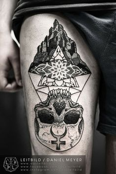 Awesome Tattoo - Castle in the Airby LEITBILD / Daniel Meyer at VILL∆ DUNKELBUN† in Kassel (Germany)