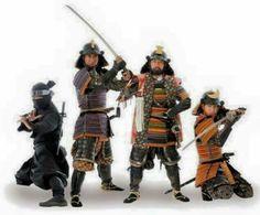 Samurais and a ninja (at left).