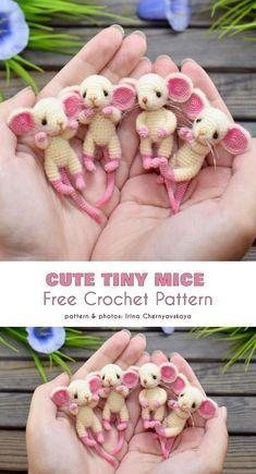 Cute Tiny Mice Free Crochet Pattern (Your Crochet) Crochet Mouse, Knit Or Crochet, Cute Crochet, Crochet Dolls, Crochet Baby, Chrochet, Crochet Amigurumi Free Patterns, Crochet Animal Patterns, Stuffed Animal Patterns