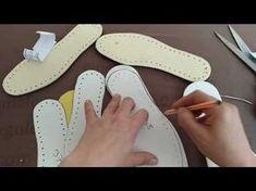 Keçe Taban Nasıl Hazırlanır - YouTube Crochet Sandals, Crochet Boots, Crochet Clothes, Crochet Baby, Knit Crochet, Crochet Shoes Pattern, Shoe Pattern, Crochet Flip Flops, Diy Crafts Crochet