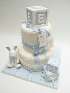 Baby Celebration Cake- Blue bunny and block