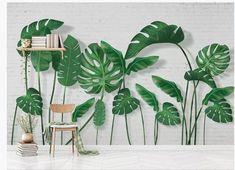 Palm Leaf Wallpaper, Plant Wallpaper, Brick Wallpaper, Peel And Stick Wallpaper, Tropical Wallpaper, Wallpaper Paste, Flur Design, Design Design, Tree Wall Murals