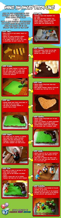 Amazing and easy directions for making an Angry Bird cake -- sure to please 6-year-olds!