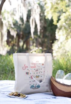 """The Savannah Bag Company """"Map"""" Tote #savannahbagcompany #tote #totebag #shoplocal #etsyseller #savannah #savannahga #riverstreet #savannahgifts #savannahmap #map #savannahwedding #savannahbride #weddinginspo #downtownsavannah"""