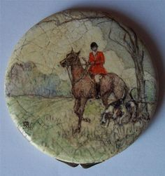 FOX HUNTER ON HORSE WITH HOUNDS COMPACT ENAMEL EGGSHELL CRACKLEWARE SIGNED