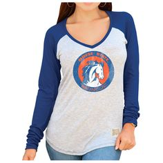 Boise State Broncos Original Retro Brand Women's Contrast V-Neck Long Sleeve T-Shirt – Gray - $17.99