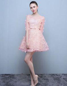 Rochie scurta roz cu manecute Creative Art