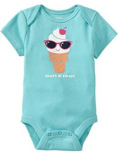 """I want to buy ALL of these cute onesies for Addy! There is this one, an """"I love my aunt"""" one, an """"I love my mommy"""" one, a """"Daddy's little cupcake"""" one ... ALL SUPER CUTE! $7.94 Buy 2 or more, save $2.94 each. At Old Navy."""