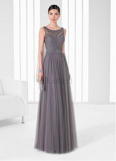 Satin Ganze Lange A-linien Tüllkleid Abendkleid - Bild 1