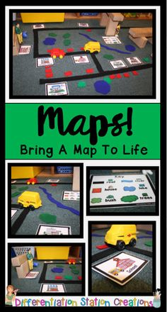 Freebie to help you- Rock your Blocks Center! Just add felt or foam pieces to your block center to create interactive maps. Kids can learn map skills, explore communities and community helpers, and practice a number of math and literacy skills! Preschool Social Studies, Kindergarten Science, Community Helpers Kindergarten, Differentiated Kindergarten, Map Skills, Literacy Skills, Map Activities, Preschool Activities, Play Based Learning