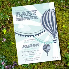 Vintage Hot Air Balloon Boy Baby Shower - Invitation Only - nstantly Downloadable and Editable File - Personalize at home with Adobe Reader