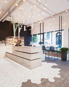 Home Decoration Ideas For Wedding Product Bakery Interior, Cafe Interior Design, Cafe Design, Restaurant Concept, Restaurant Design, Commercial Design, Commercial Interiors, Cafe Concept, Industrial Cafe