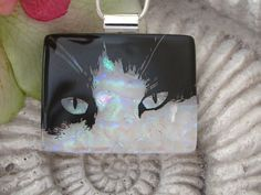 Cat Necklace  Dichroic Glass Necklace  Dichroic Glass by ccvalenzo,