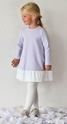 FRILL dress in dove/light blue - G i r l s