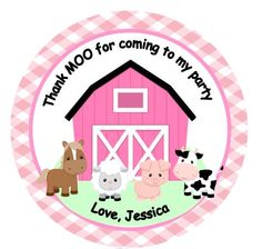 12 Personalized Pink Girl Farm Barn Animal Old McDonald Baby Shower  or Birthday Party Favor Thank You Tags or Stickers you choose by TopperoftheWorld on Etsy https://www.etsy.com/transaction/1020206066